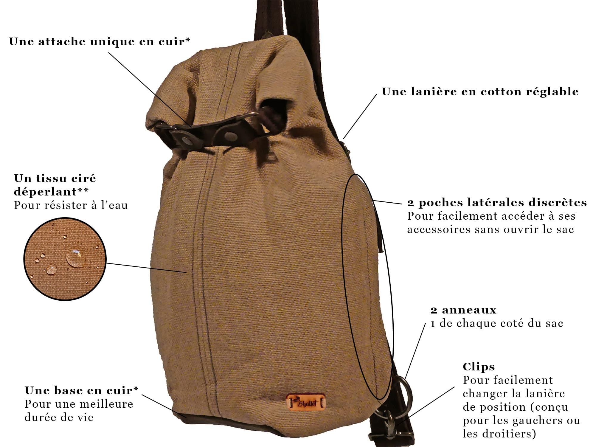 Petit sac à dos bandoulière, balish - le baluchon - Bhallot num 9