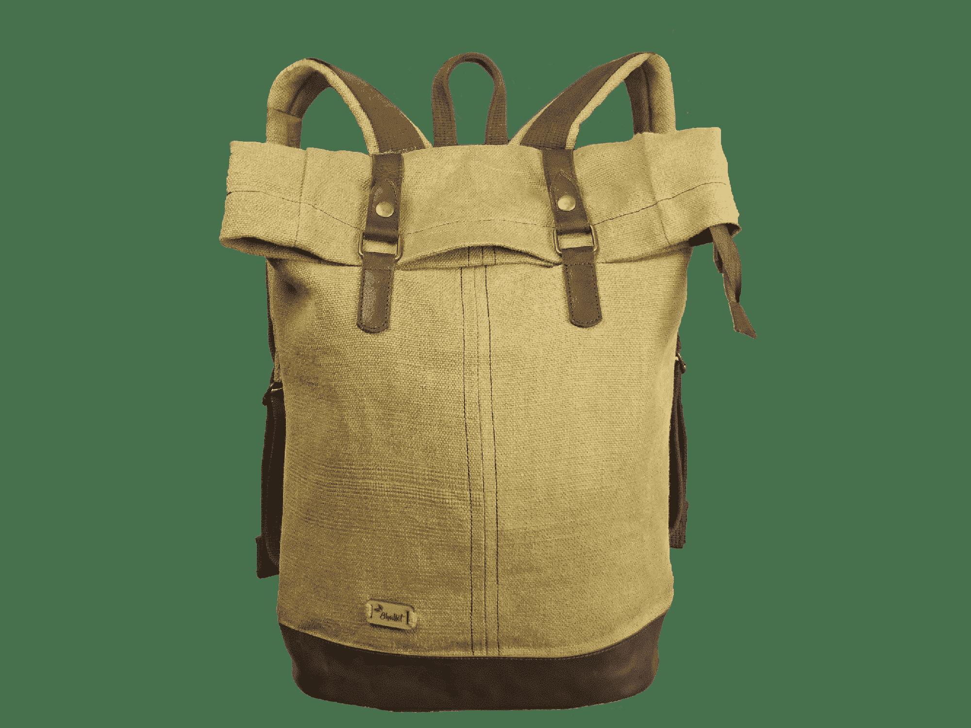 Bhallot - Sac à dos roll top en toile cirée et cuir - bosta
