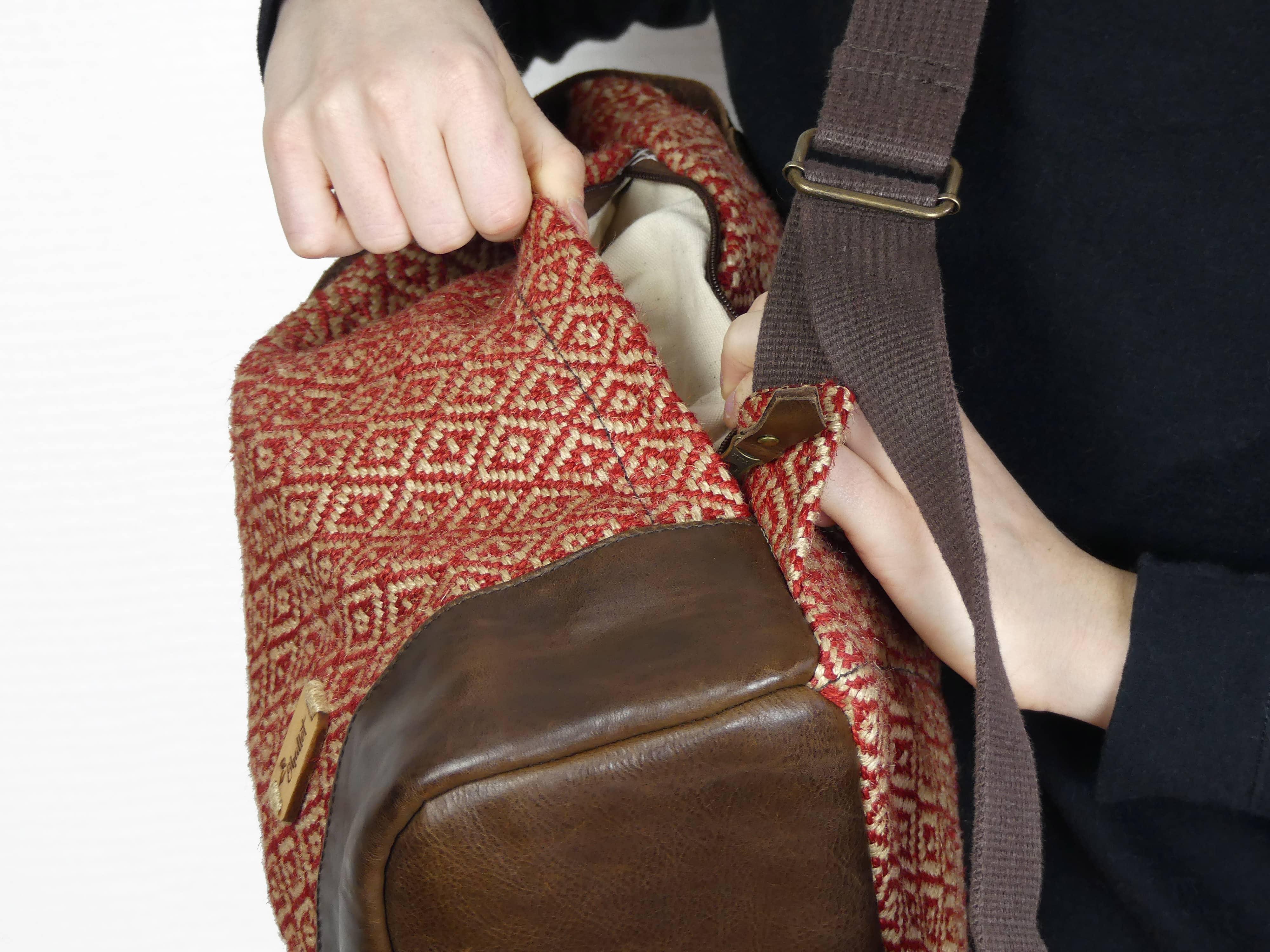 Sac À Patates Toile De Jute sac à dos femme en toile de jute et cuir fait-main - potla