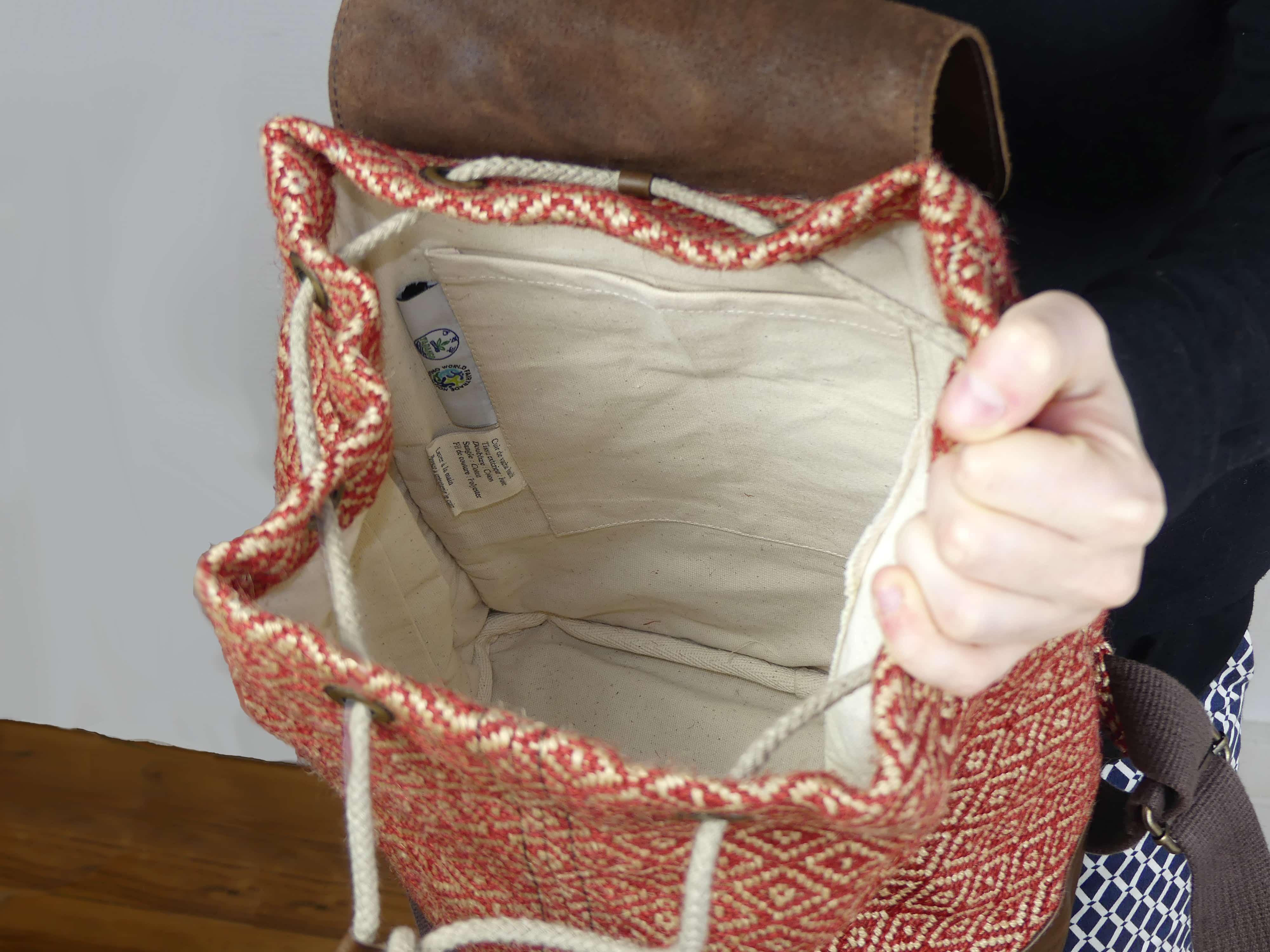 Bhallot - Sac à dos femme en toile de jute et cuir fait-main - potla