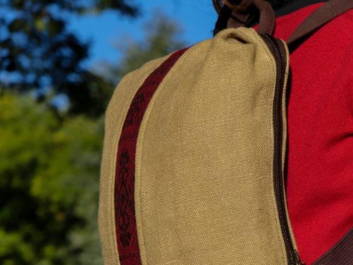 Alta sac à dos végétal vegan - Bande étroite rouge
