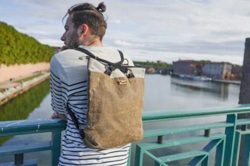 Tote bag convertible sac à dos - ambrose - lin huilé français