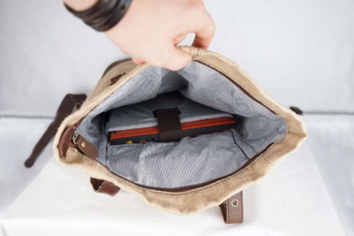 Intérieur sac à dos en jute ciré et cuir - Mini bosta - Bhallot