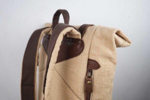 Haut sac à dos en jute ciré - Mini-bosta - Bhallot