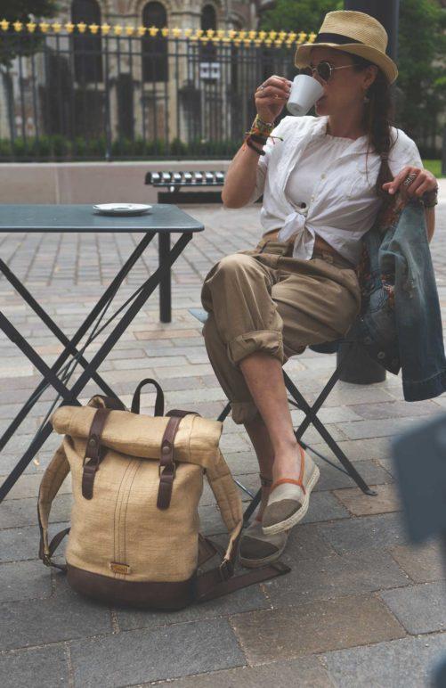 sac à dos roll top en toile cirée femme