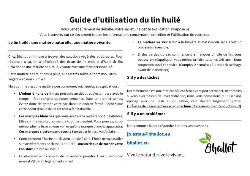 Guide d'utilisation et d'entretien du lin huilé