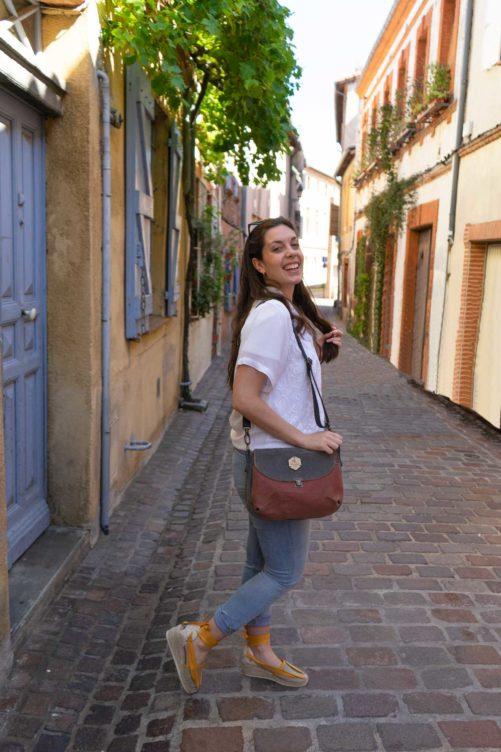 Sac à main bandoulière en lin Toulouse Bhallot