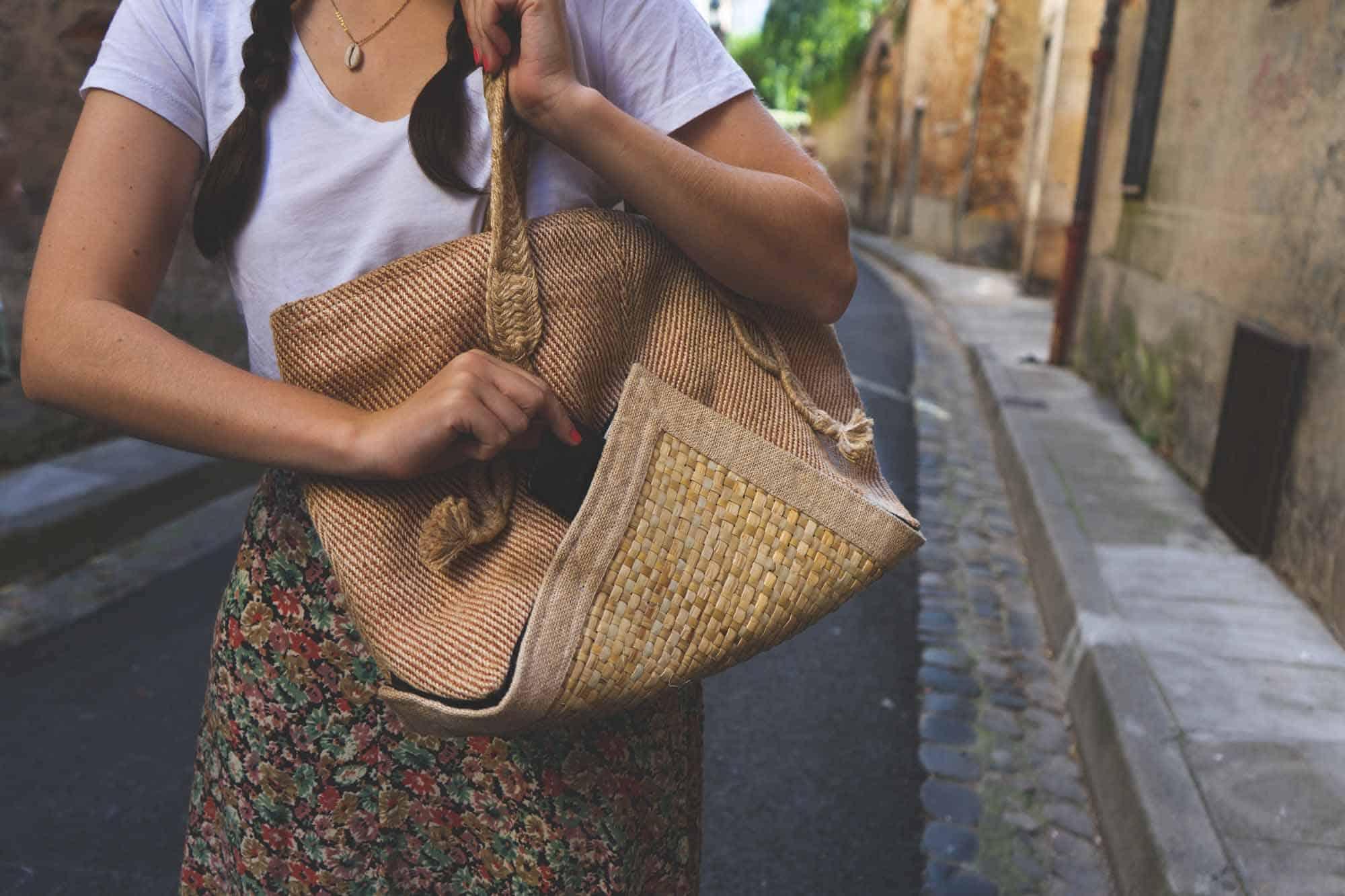 sac à main fond végétal détachable avec poche extérieur